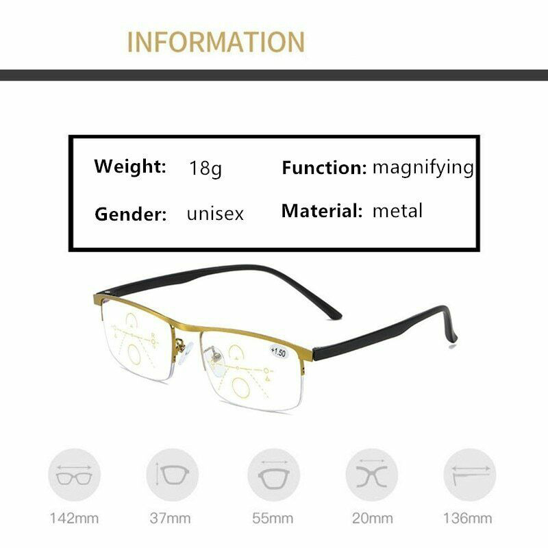 German Intelligent Color Progressive Auto Focus Reading Glasses See More Clearly Women Men J55