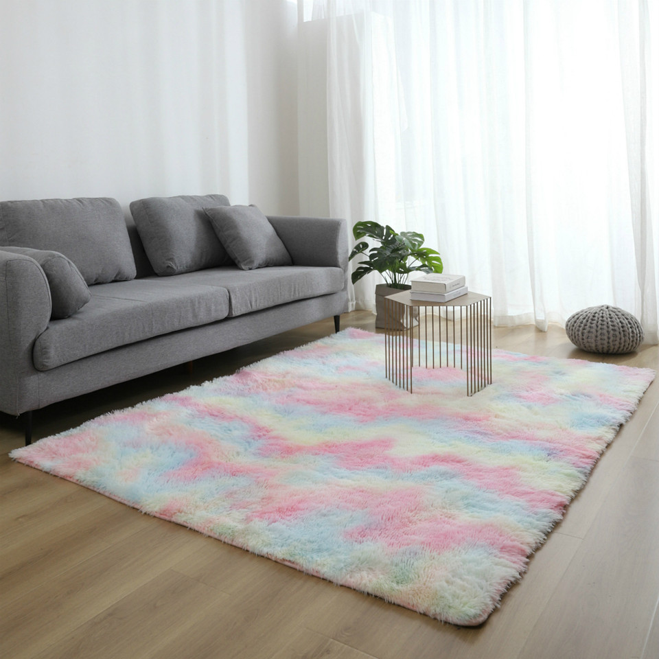 Wishstar Colorful Carpet Shaggy Girl Room Bedside Rugs Cute Rainbow Color Soft Fluffy Plush Rug For Bedroom Nordic Home  Decor