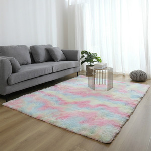 Wishstar Colorful Carpet Shaggy Girl Room Bedside Rugs Cute Rainbow Color Soft Fluffy Plush Rug For Bedroom Nordic Home Decor(China)