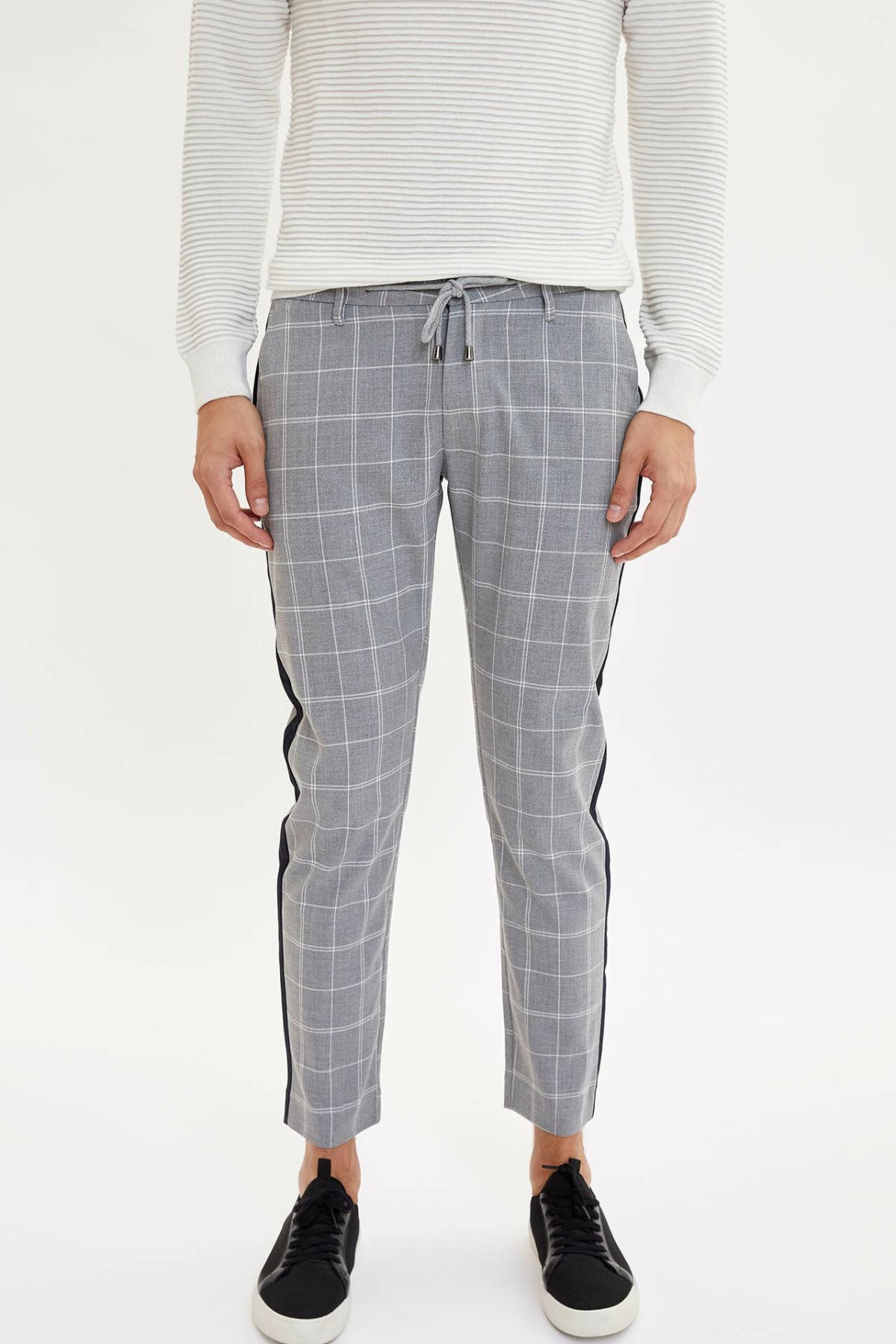 DeFacto Men's Sport Pant Men's Solid Casual Drawstring Plaid Pants Leisure Cotton Long Pants Sweatpants Male - L6913AZ19AU