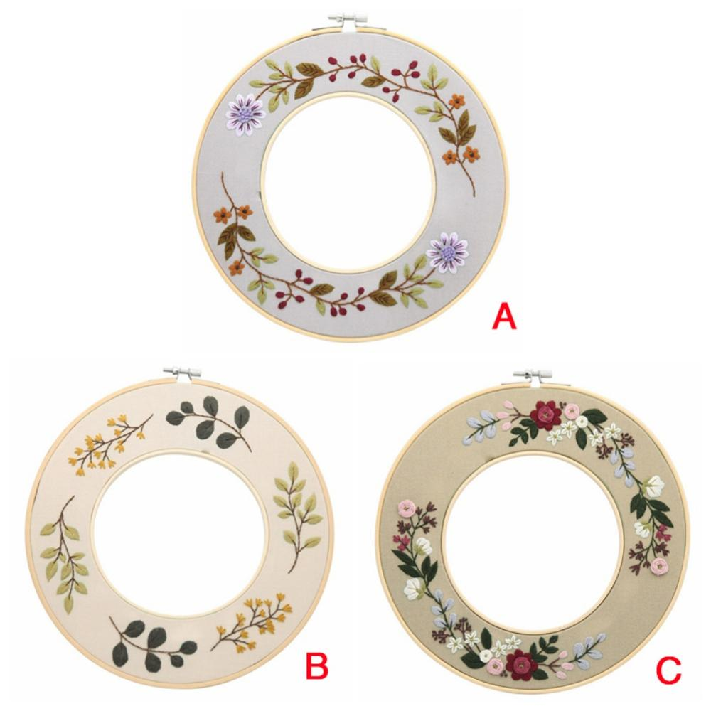 2020 Flowers DIY Embroidery Ribbon Set With Frame For Beginners Kits Needlework Cross Stitch Arts Crafts Sewing Decoration