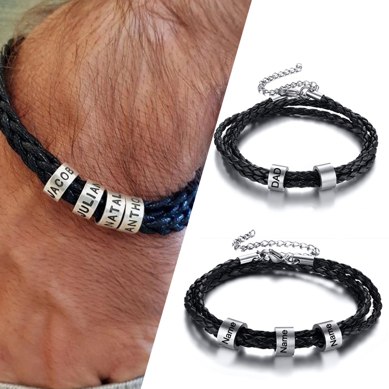 Personalized Mens Leather Bracelet With Custom Beads Braid Black Name Charm Bracelet For Men With Family Names