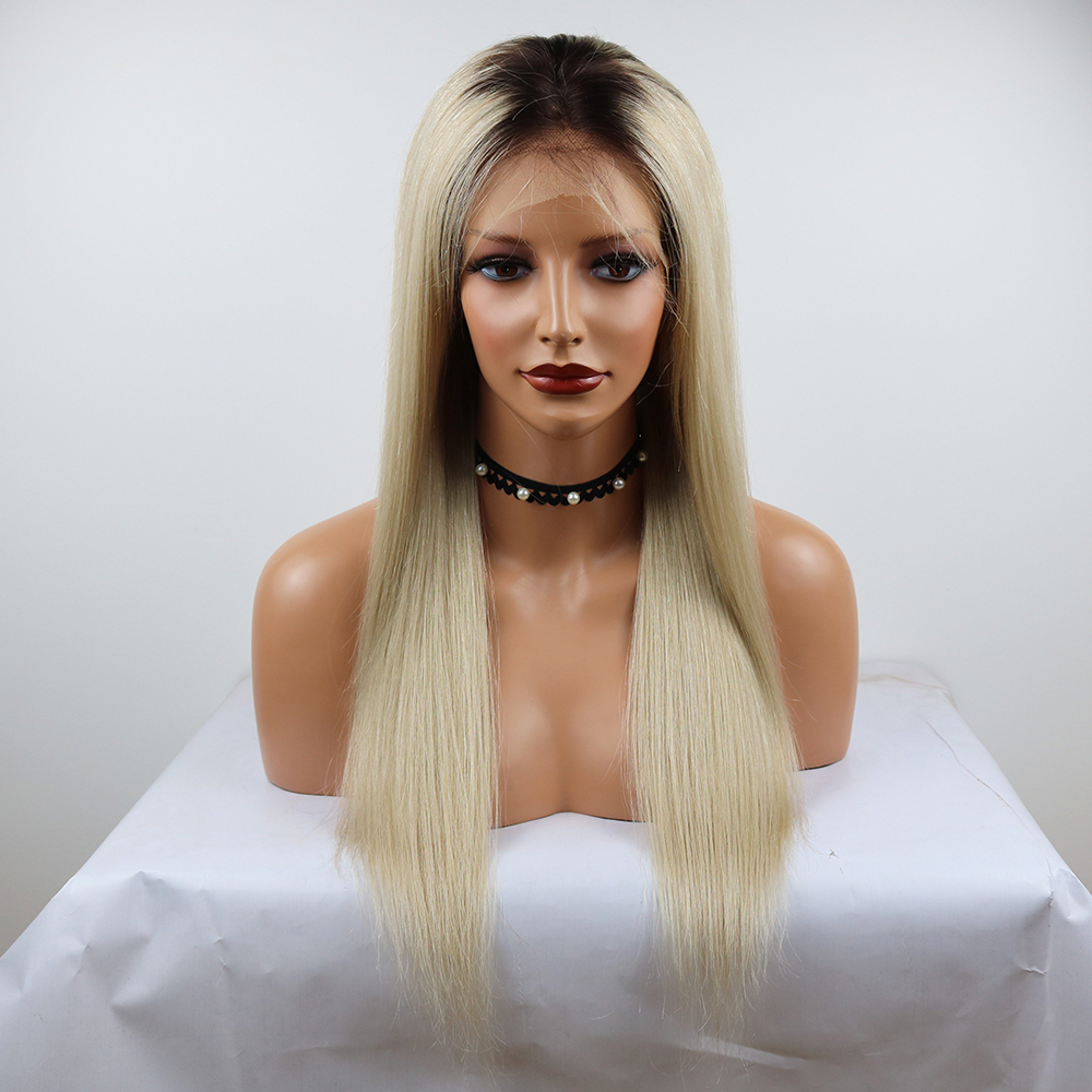 Eversilky T4/60 Long Straight 13x4 Lace Front Human Hair Wig Ombre Ash Grey With Dark Roots Brazilian Remy Pre Plucked For Women