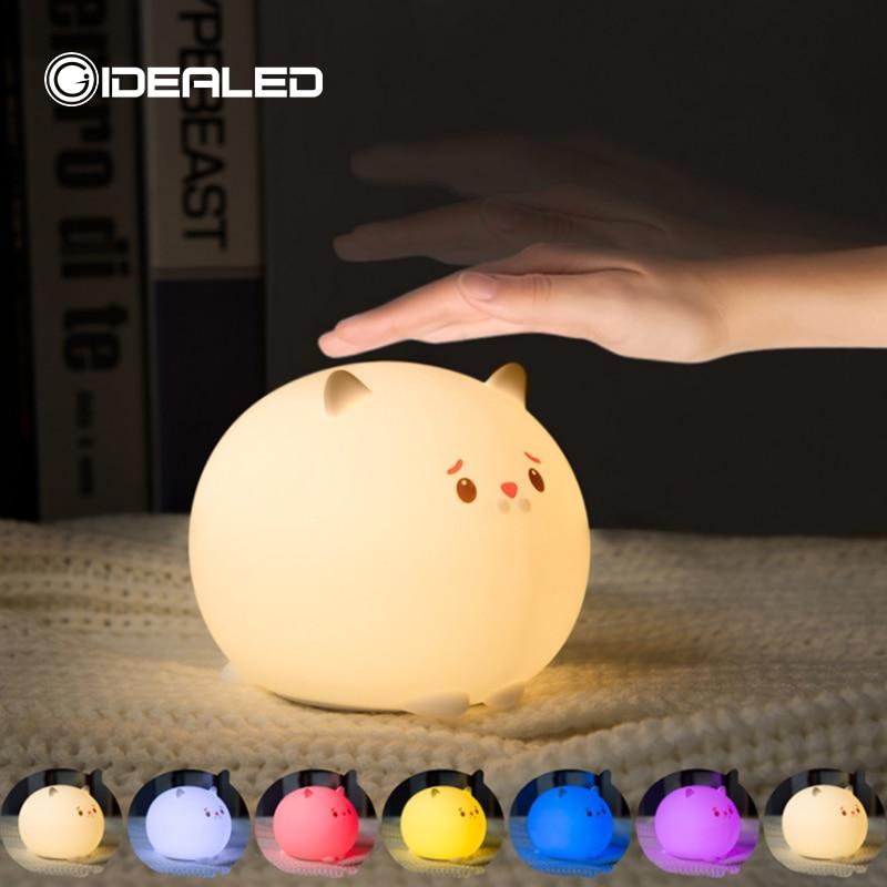 lampada led luz de mesa bateria sonho gato bonito 7 colorido feriado criativo rechargable bulbfeeding luz