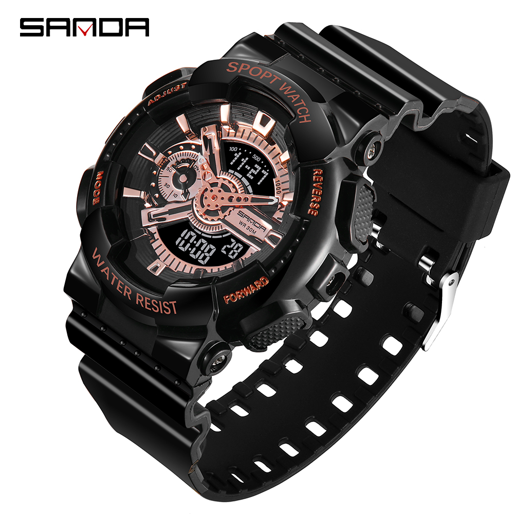 SANDA Fashion Watch Men's Ms LED Digital Watch G Outdoor Multi-function Waterproof Military Sports Couples Watch Relojes Hombre