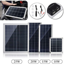 25W Solar Panel Cell Solar Cells Polycrystalline Dual USB 5V &DC12-18V Solar Charger with Car Charger Battery Clip For Outdoor 40w solar cells solar panel with car charger 5v dual usb charger 10 20 30 40a 18v solar charger controller for outdoor camping