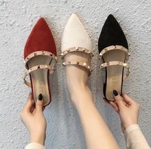 Womens Women Shoes 2020 Rivet Buckle Strap Fashion Casual Sandals Pointed Toe Low Heels flip flop