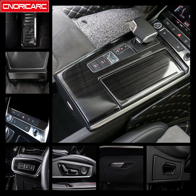 Black Central Gearshift Panel Cover Trim For Audi A6 C8 2019 Stainless Steel Car Center Console Buttons Frame Decoration