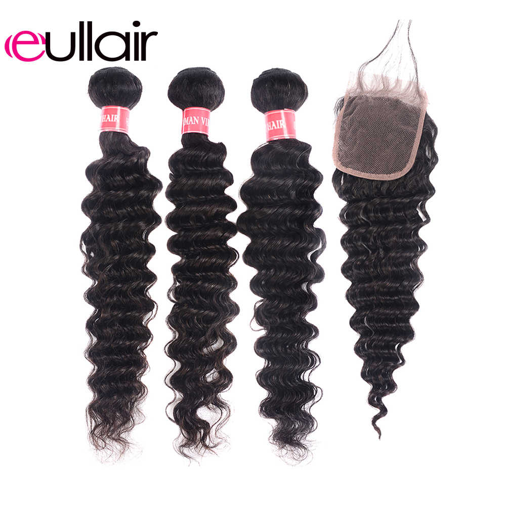 eullair Brazilian Human Hair Bundles With Closure 3/4 PCS Deep Wave Hair Weave With 4*4 Lace Closure Remy Hair Extension