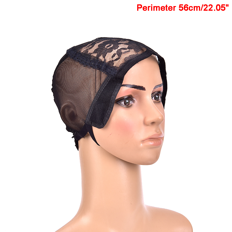 1pcs Hair Adjustable Straps Stretch Weaving Mesh Elastic Hairnets Ladies Lace Black Wig Cap Hair Net For Making Wigs