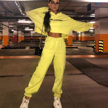 TWO PIECE SET Hoodie Crop Top Long Sleeve Jogger Pants Tracksuit Women Sweat Suit Outfits Sweatsuits Sweatshirt Co Ord Autumn
