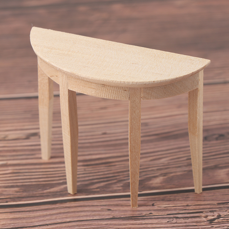 1:12 Dollhouse Miniature Wooden Half Round Table Model Furniture Teatable Coffee Living Room KID Toy Dolls Simulation Home Toy