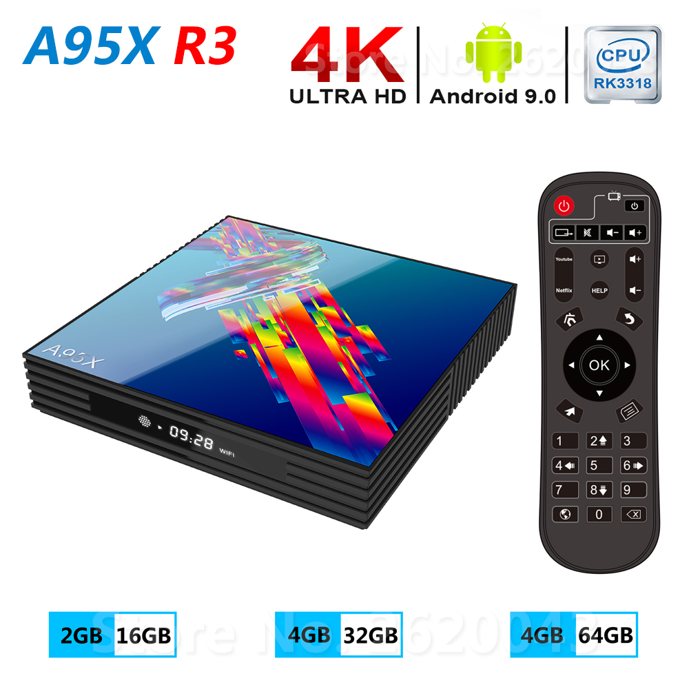 A95X R3 Smart TV Box Android 9.0 4GB RAM 32GB 64GB ROM 2.4G 5G WiFi Bluetooth 4.0 Media Player RK3318 2GB 16GB 4K HD Set Top Box