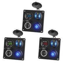 4 in 1 Panel Type c PD USB C QC3.0 USB Socket Voltmeter & Cigarette Lighter Socket  Waterproof Switch for Truck Car Marine Boats