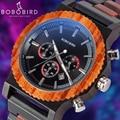 Relogio BOBO VOGEL männer Holz Uhr Klassische Chronograph Holz Helle Farbe Uhren Elegante Mode Design Große Größe Uhren-in Quarz-Uhren aus Uhren bei