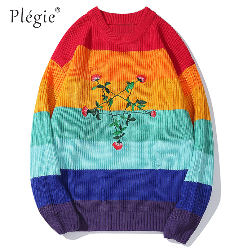 Plegie Multicolor Patchwork Sweater Flower Embroidery Pullover Long Sleeve Sweatshirts 2019 Oversize Streetwear Hip Hop Knitwear