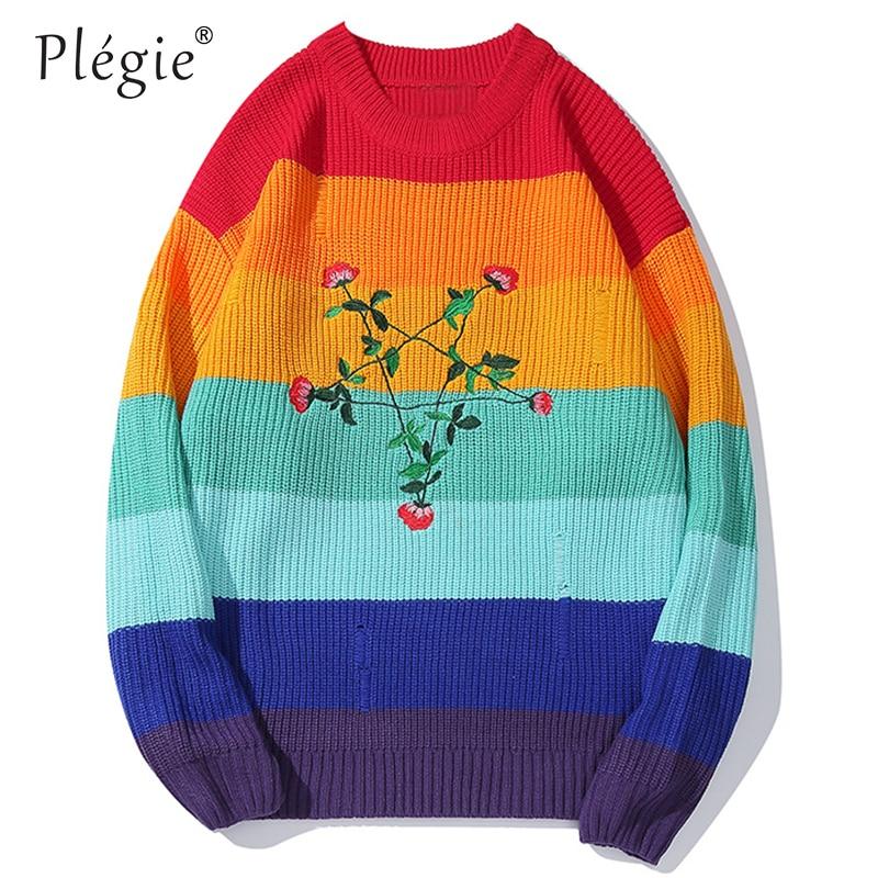 Plegie Multicolor Patchwork Sweater Flower Embroidery Pullover Long Sleeve Sweatshirts 2019 Oversize Streetwear Hip Hop Knitwear