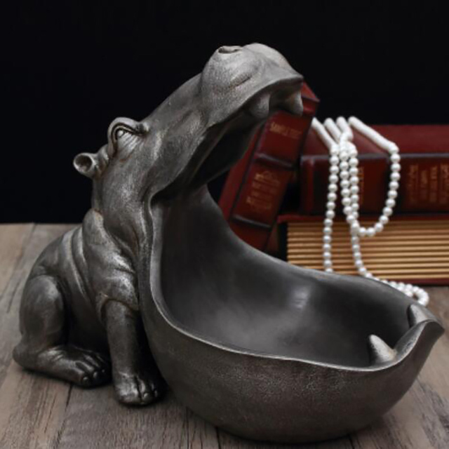 Abstract Hippopotamus Statue Decoration Resin Artware Sculpture Statue Decor Key Storage Tool Home Decoration Accessories D024 4