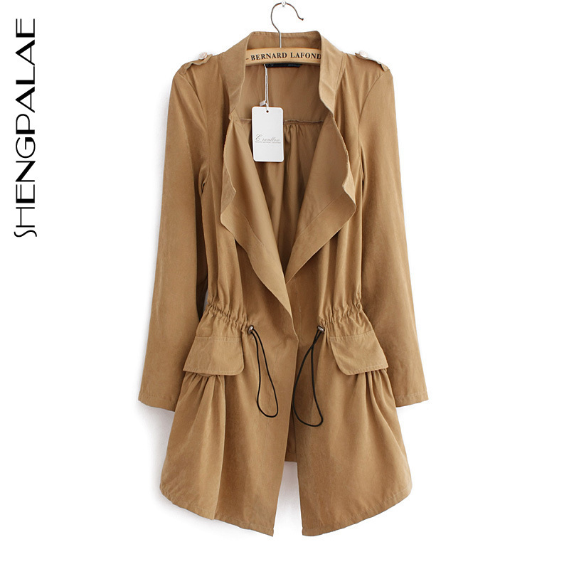 SHENGPALAE Covered Button-Pockets Slim-Coat Autumn Women New Collar Stand Full With Sashes