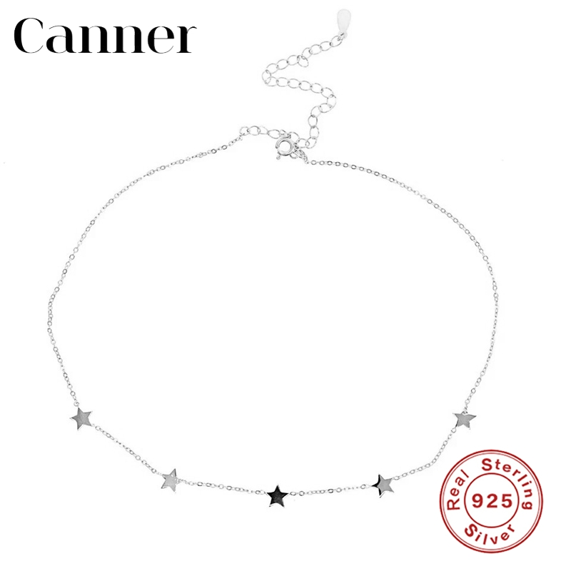 Charming 925 Sterling Silver Choker Gold Silver Chain Star Pendant Short Necklaces For Women Simple INS Zircon Necklace Jewelry