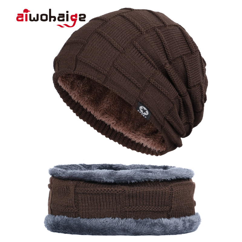 2019 New Brand Men's Winter Knit Hat Scarf 2Pcs Men Women Thick Lining Plus Velvet Beanies Neck Warmer Male Soft Cap Balaclava