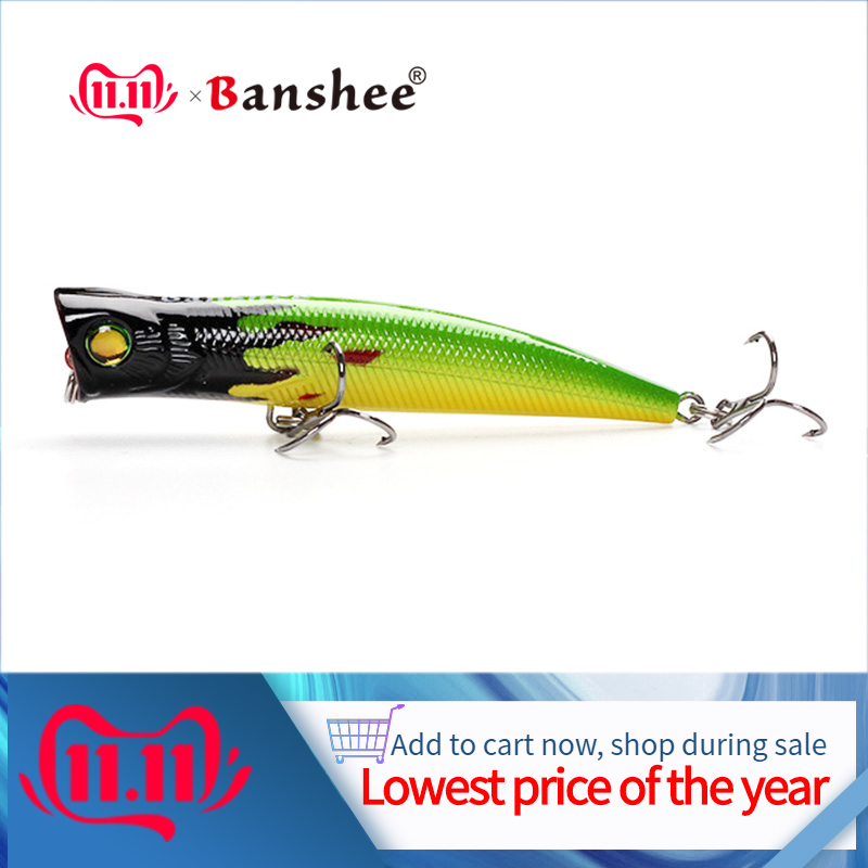 Banshee 84mm 8g Top Water Popper Fishing Lure Hard Bait Artificial Poper Topwater Bass Pike Fishing Crankbait Crank Wobbler