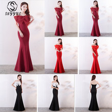 Skyyue 2019 Solid Wrapped Chest Evening Dress Women Party Dresses Sleeveless Zipper Elegant Formal Gowns Robe De Soiree C141-DS2