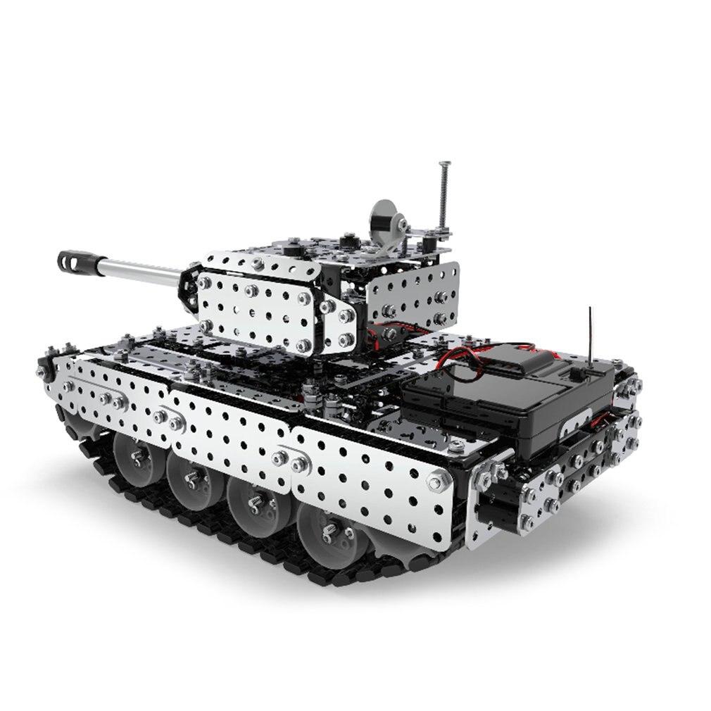 952 pièces 2.4G RC réservoir militaire bricolage ensemble de montage en acier inoxydable modèle de télécommande jouet intégré 3.7V 300MAh batterie au lithium