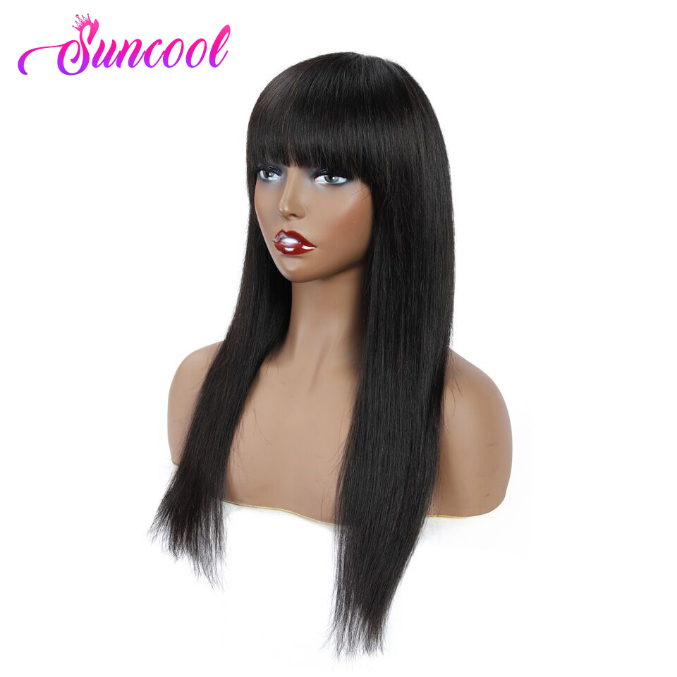 Human Hair Wigs With Bangs Brazilian Straight Full Machine Made Wig No Lace Front Human Hair Wigs Non-Remy Hair Natural Color