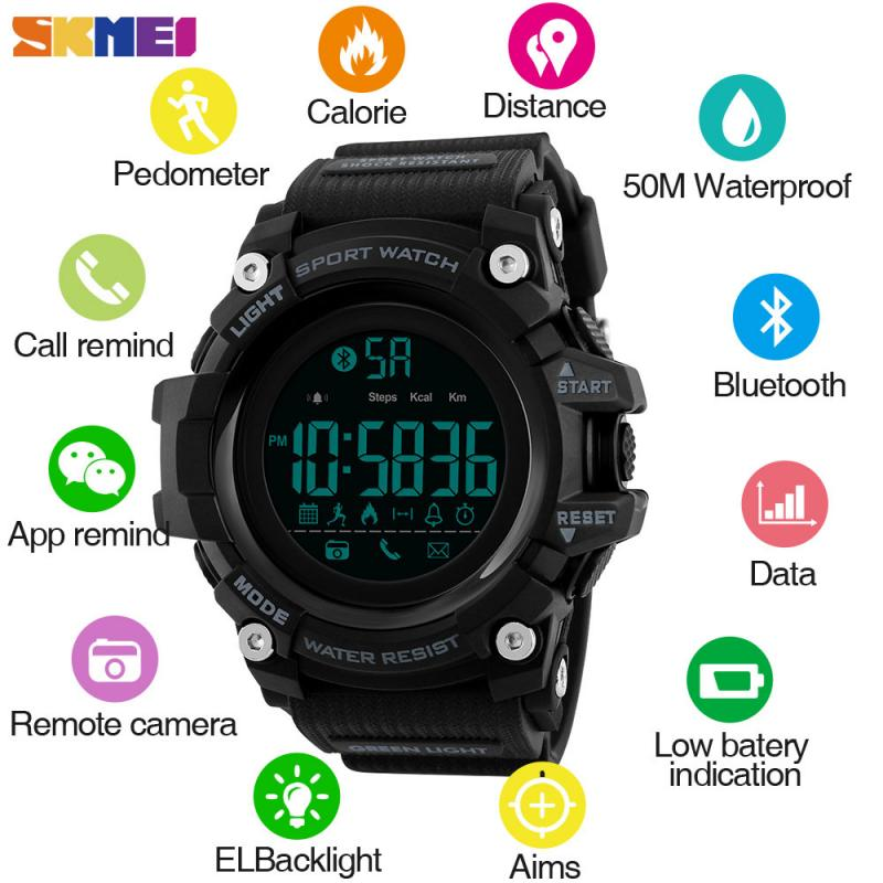 <font><b>SKMEI</b></font> Mens Smart Watch Pedometer Calorie Bluetooth Watches Call Reminder 5Bar Waterproof Digital Watch Reloj Hombre <font><b>1385</b></font> image