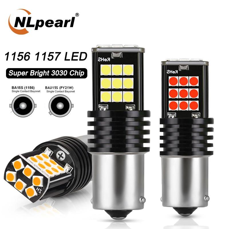 NLpearl 2x сигнальные лампы 1156 светодиодный Ba15s P21w PY21W автоматического поворота светильник 3030SMD 1157 Bay15d светодиодный задний тормоз светильник s бе...