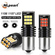 Nlpearl 2x lâmpada de sinal 1156 led ba15s p21w py21w auto turn signal luz 3030smd 1157 bay15d led reverso luzes freio branco vermelho