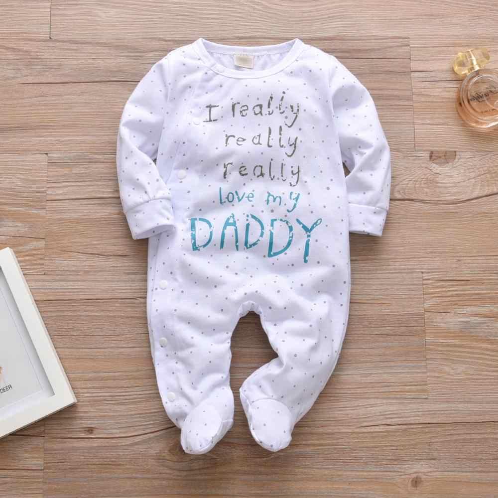 신생아 소년 소녀 장난 꾸러기 코튼 귀여운 편지 나는 정말 사랑하는 아빠/엄마 긴 소매 Jumpsuit 유아 의류 파자마 의상