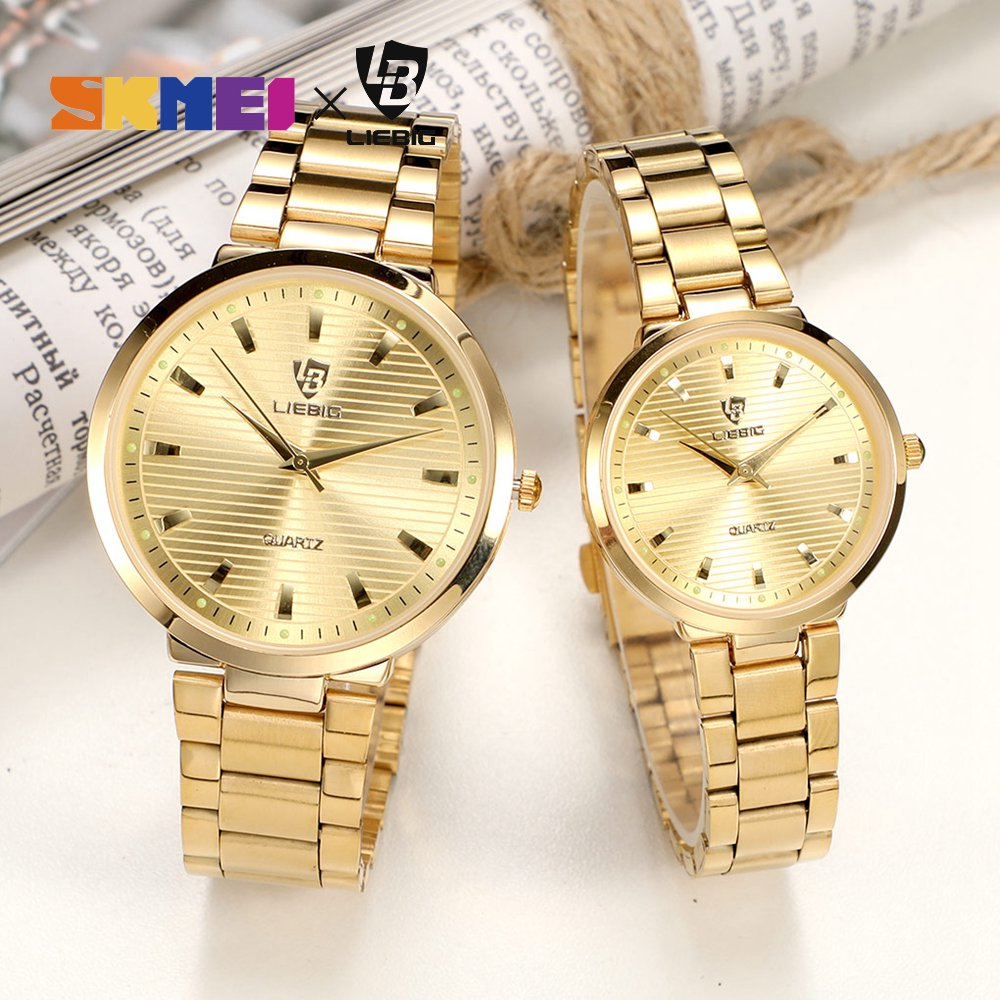 Luxury Couple Watch Quartz Wrist Watches Golden Fashion Stainless Steel Lovers Watch For Women & Men Analog Wristwatch L1012