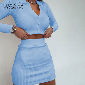 FSDA Autumn 2020 Knit Women Set Black Long Sleeve Crop Top And Mini Bodycon Skirt Sexy Outfit Party Blue Two Piece Sets