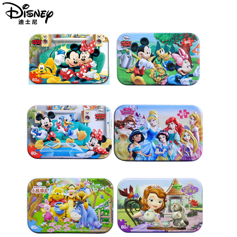 Disney 20 Kinds Of Genuin Mickey Mouse And Finding Nemo  60 Pieces Of Wooden Puzzle Baby Toys 3D Iron Box Children's Toys