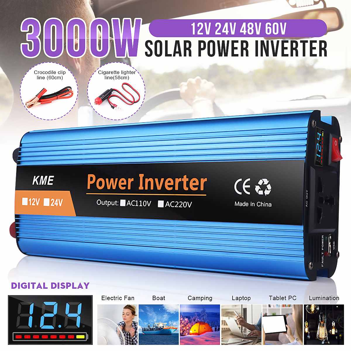 Car Inverter 3000W DC12   24   48   60V to AC 220V Car Power Inverter Charger Converter Adapter Modified Sine Wave LCD display