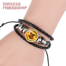 Vintage Fans Fine Potter Magic Academy Badge Logo Charm Bracelets & Bangles Leather Man Kids Jewelry Gifts