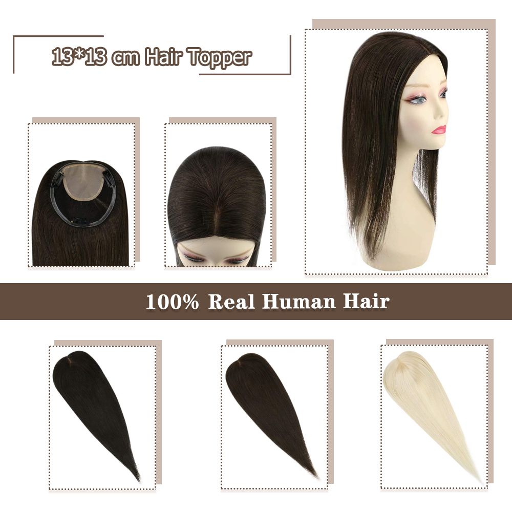 Moresoo Hair Toppers For Women Clips In 13*13cm Natural Straight Women Hair Toupees Machine Remy Hair 8-18inches Real Human Hair