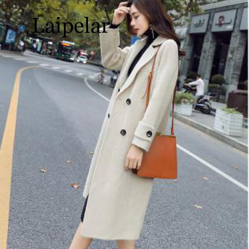 Laipelar New Autumn Winter Wool Coat New Fashion Women Medium Long Outerwear New 2019 Ladies Korean Style Double-breasted Coats
