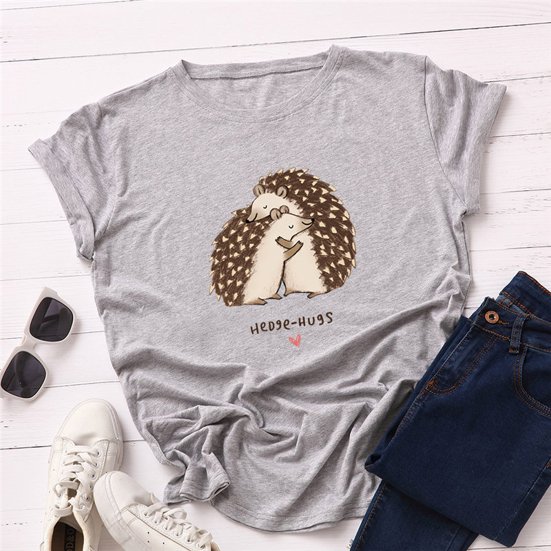 Women T-shirt 2019 Fashion Plus Size Cotton Top Hedgehog Hug Print T Shirt Female O-Neck Short Sleeve Harajuku Tees Feminina