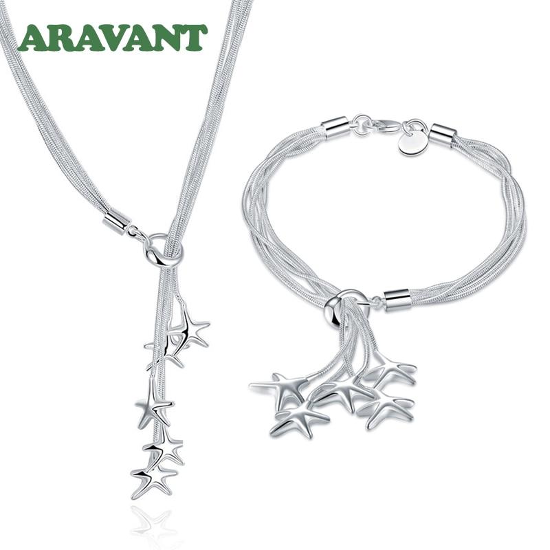 925 ensembles de bijoux en argent étoile de mer collier Bracelet ensemble de bijoux de mariage pour les femmes 5