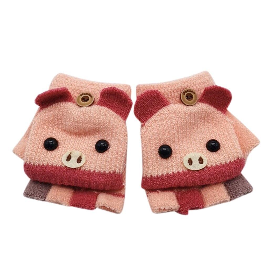 Детские зимние теплые вязаные варежки без пальцев, вязаные перчатки, удобные перчатки для девочек - Цвет: D