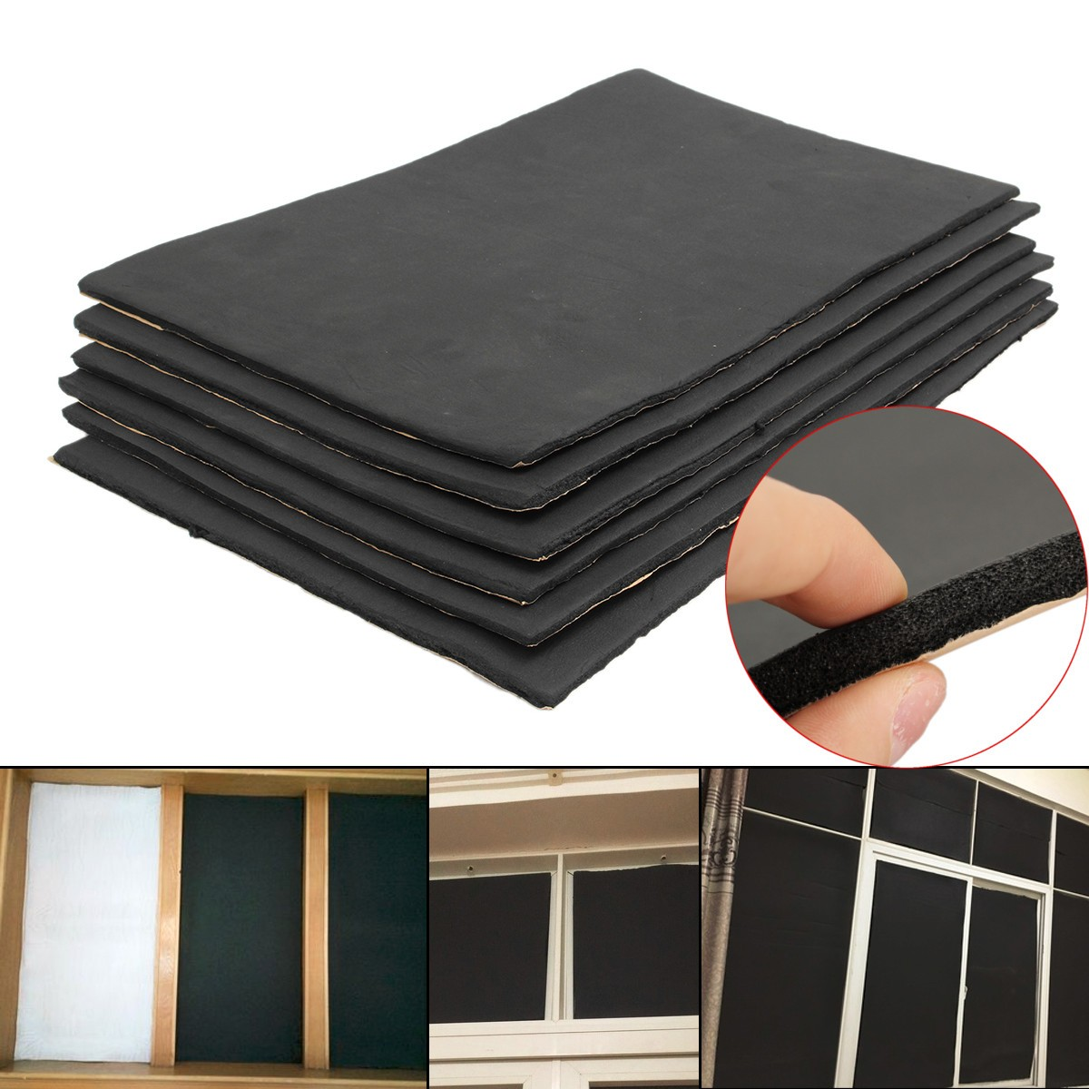 6pcs/set 30cmx50cm Car Sound Proofing Deadening Anti-noise Sound Insulation Cotton Heat Closed Cell Foam Interior Accessories
