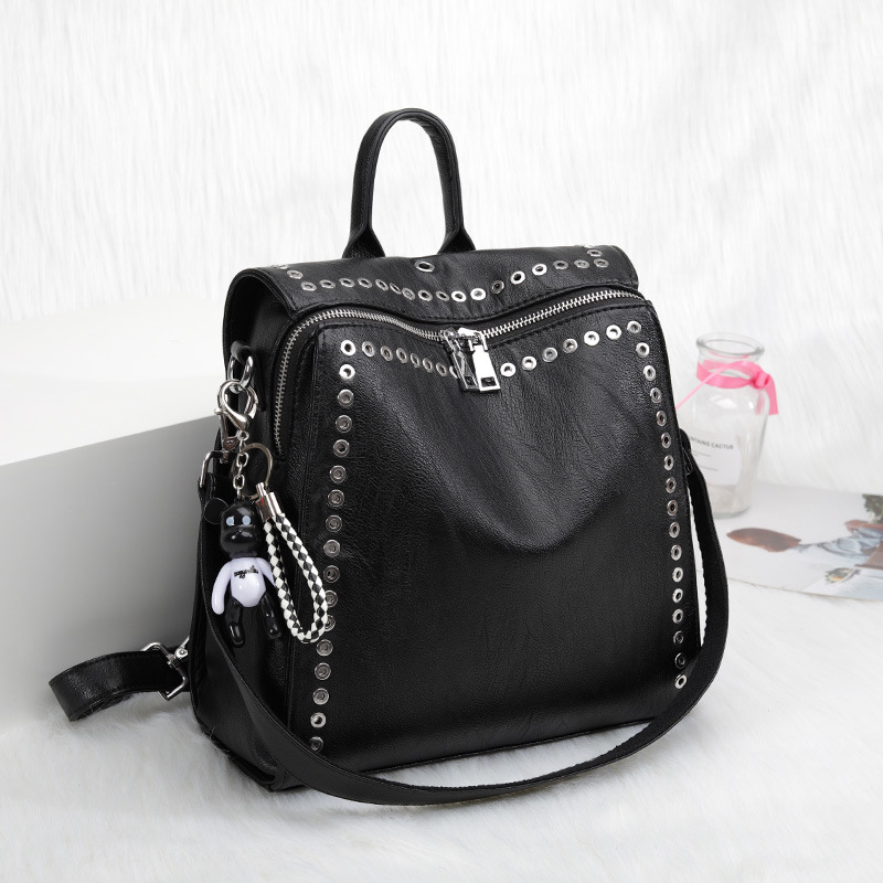 2020 New Women Genuine Leather Backpack Rivet Multifunctional Backpack Female Travel Bag Teenage Girls Fashion Schoolbag Mochila