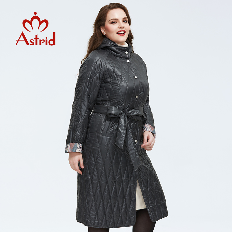 Astrid 2020 Spring New Arrival Women Jacket Loose Clothing Women Plus Size Long Coats With а Belt Spring Coat Women AM-9428