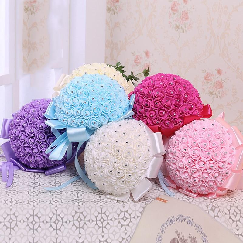 Handmade Bridal Artificial Foam Roses Flower Bride Bouquet Wedding Party Decor