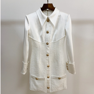 Image 4 - High street 2020 nova moda designer vestido de manga longa das mulheres cetim tweed retalhos leão botões vestido