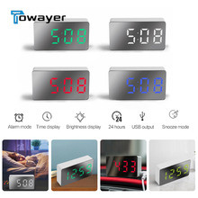 LED Multifunctional Mirror Clock Digital Alarm Snooze Display Time Night led Light Table Desktop USB Home Decor Gifts for childr