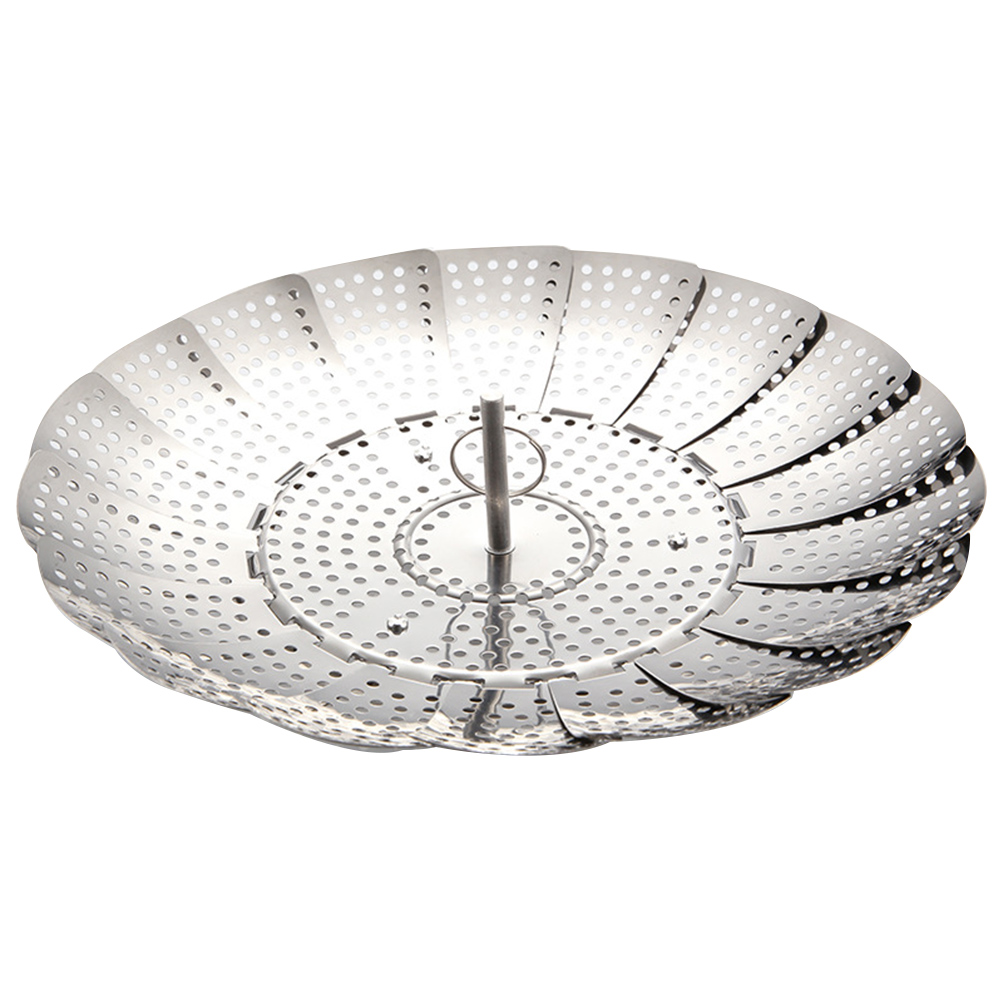 Food Cooker Expandable Collapsible Steamer Basket Vegetable Mesh Stainless Steel Strainer Folding